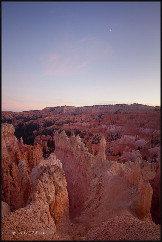 Crescent moon over Bryce Canyon National Park