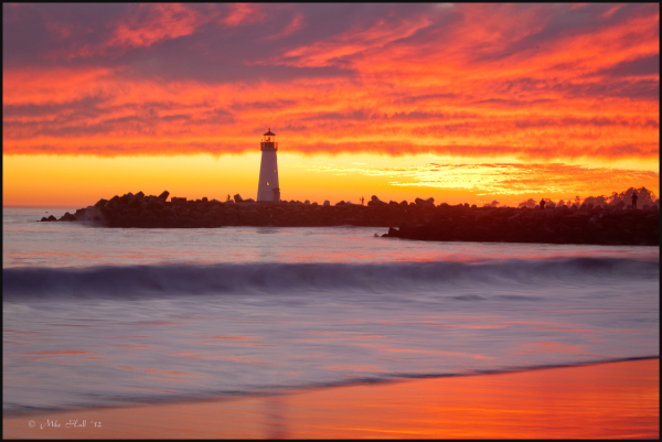 Monterey Bay Winter Sunset, Walton Lighthouse