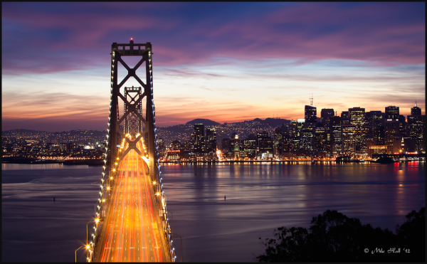 San Francisco Bay Bridge at dark