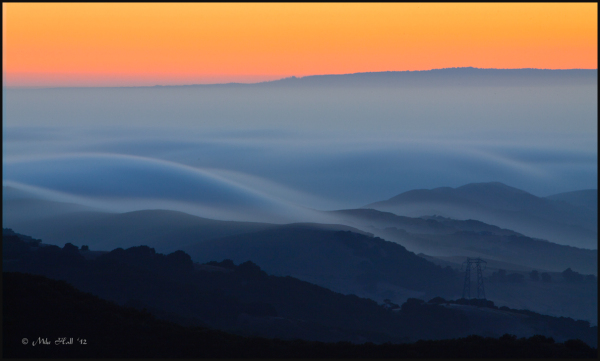 Fog from Monterey Bay flowing inland