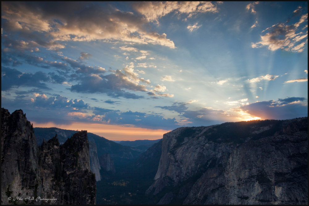 Sunset view of El Capitan in Yosemite