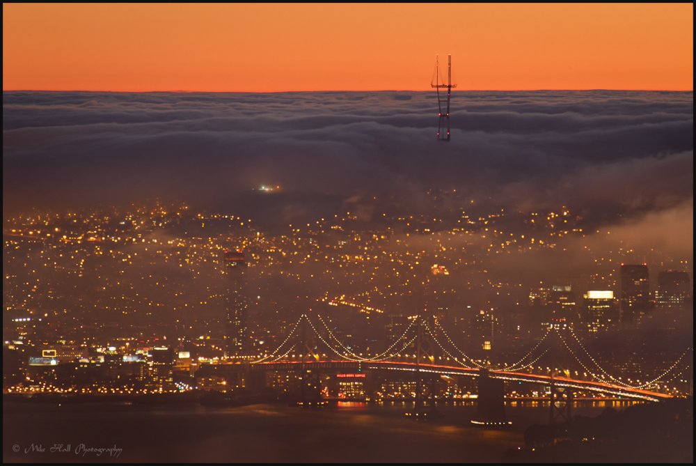 Fog engulfs San Francisco on late summer evening