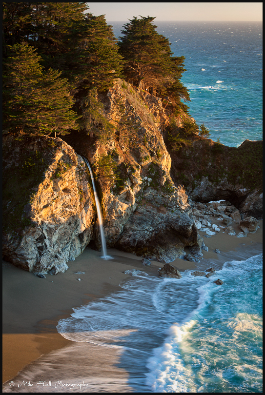 View of McWay Falls in late afternoon light