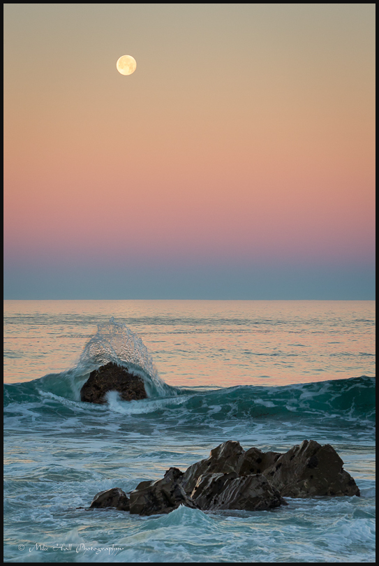 Twilight Wedge Moonset over Garrapata State Beach