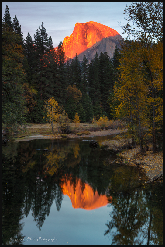 View of Half Dome and Merced River at Sunset