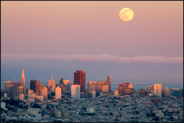 Moonrise over San Francisco, California