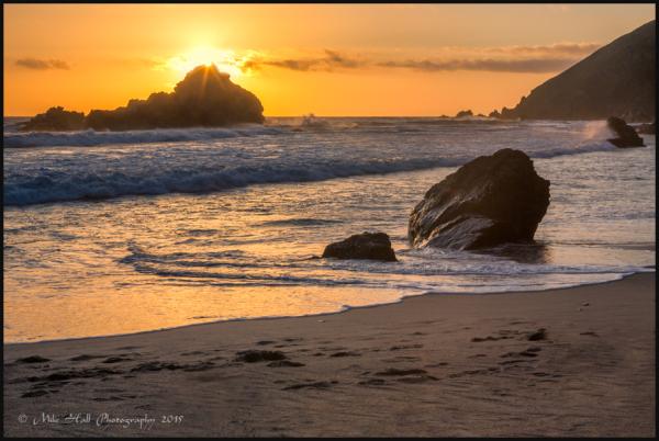 Sunset at Pfeiffer Beach along the Big Sur Coast