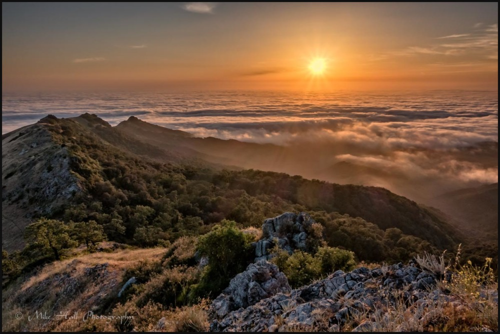 Sunset over the Monterey Bay Fog from Fremont Peak