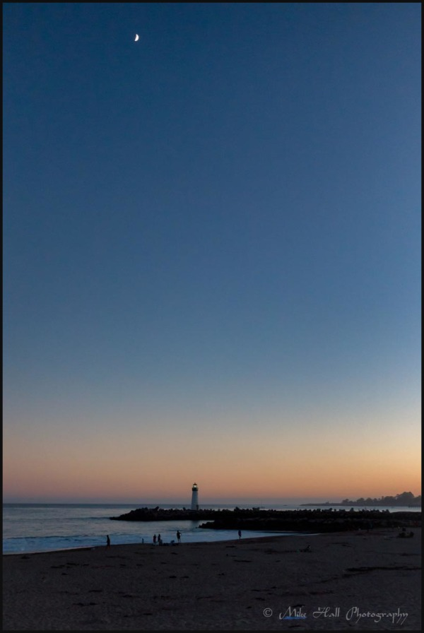 Walton Lighthouse in Santa Cruz, CA at twilight