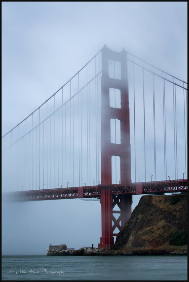 Golden Gate Bridge in the fog, San Francisco Bay