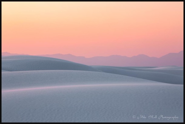 sunset color and dunes at White Sands Nat Monument