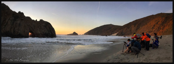 Photographers at Keyhole Arch at Pfeiffer Beach