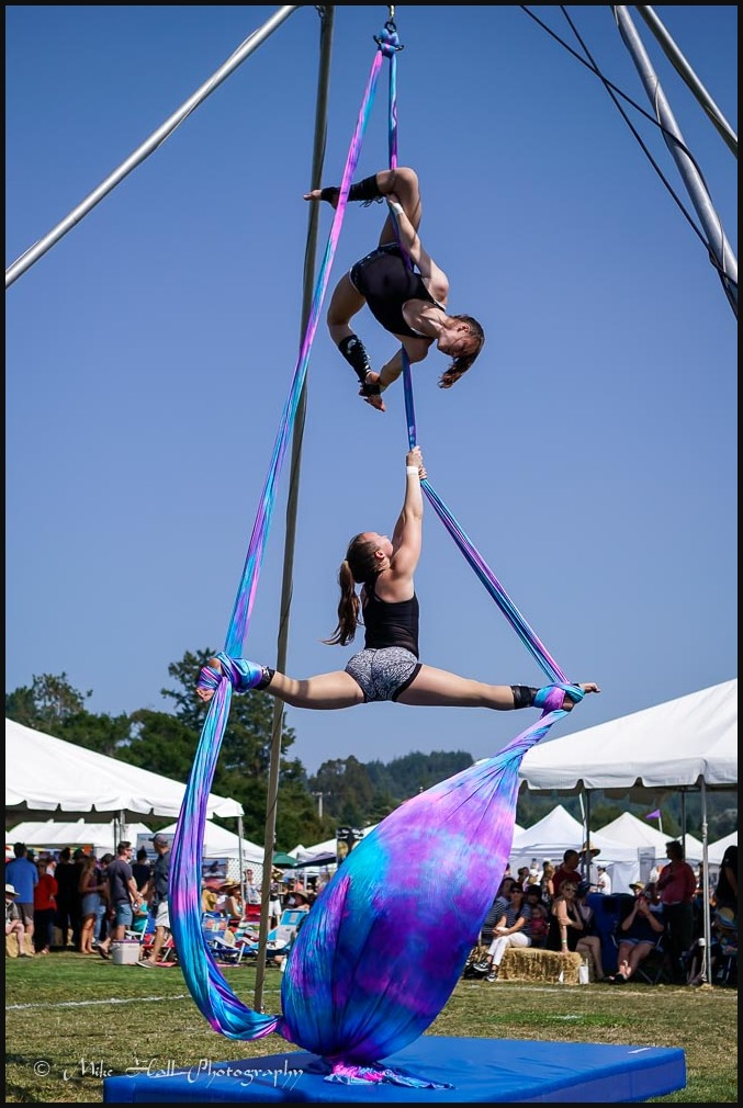 Aerial artists on the Silks