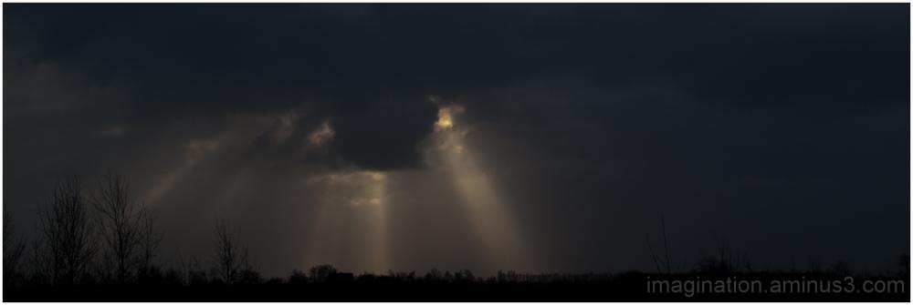 Landscape, Clouds, Sun, Rays