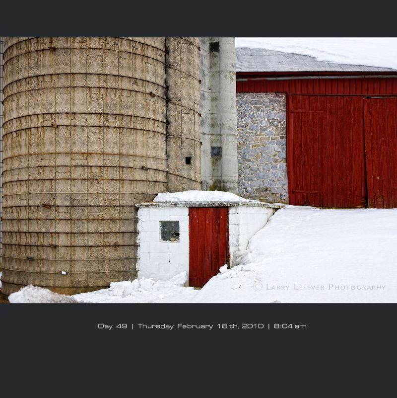 Bank barn with silo