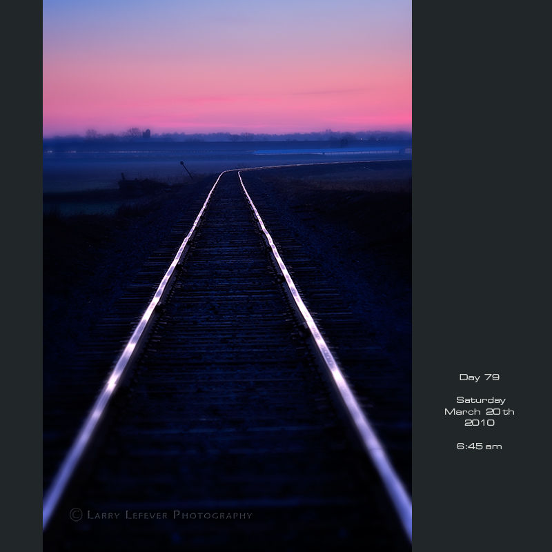 Railroad tracks at dawn.