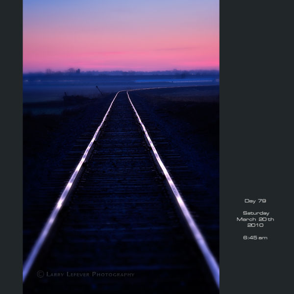 Railroad tracks at dawn.