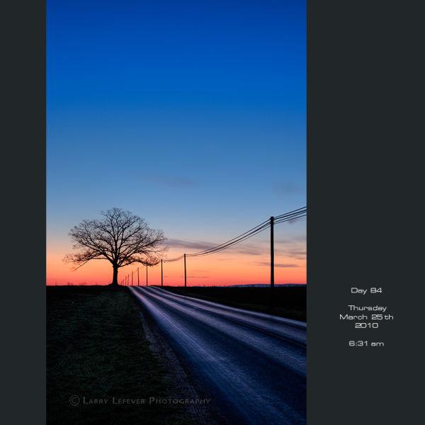 Country road at dawn.