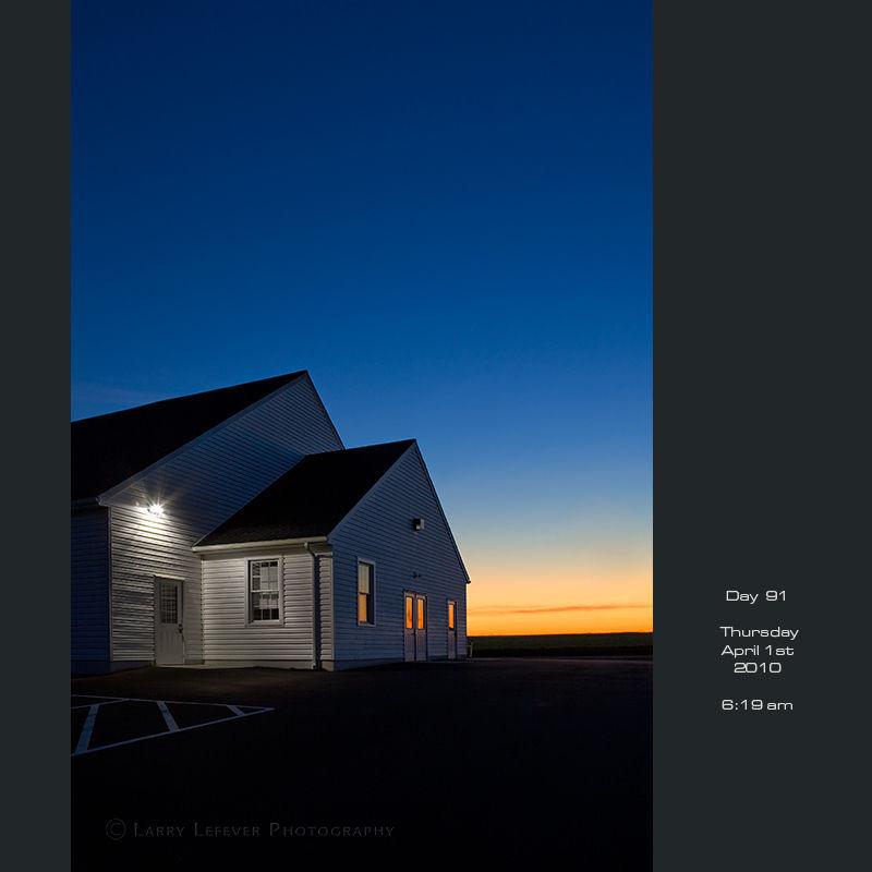 Mennonite church at dawn