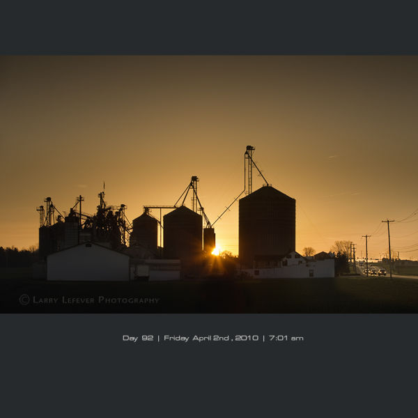 Feed mill at sunrise.