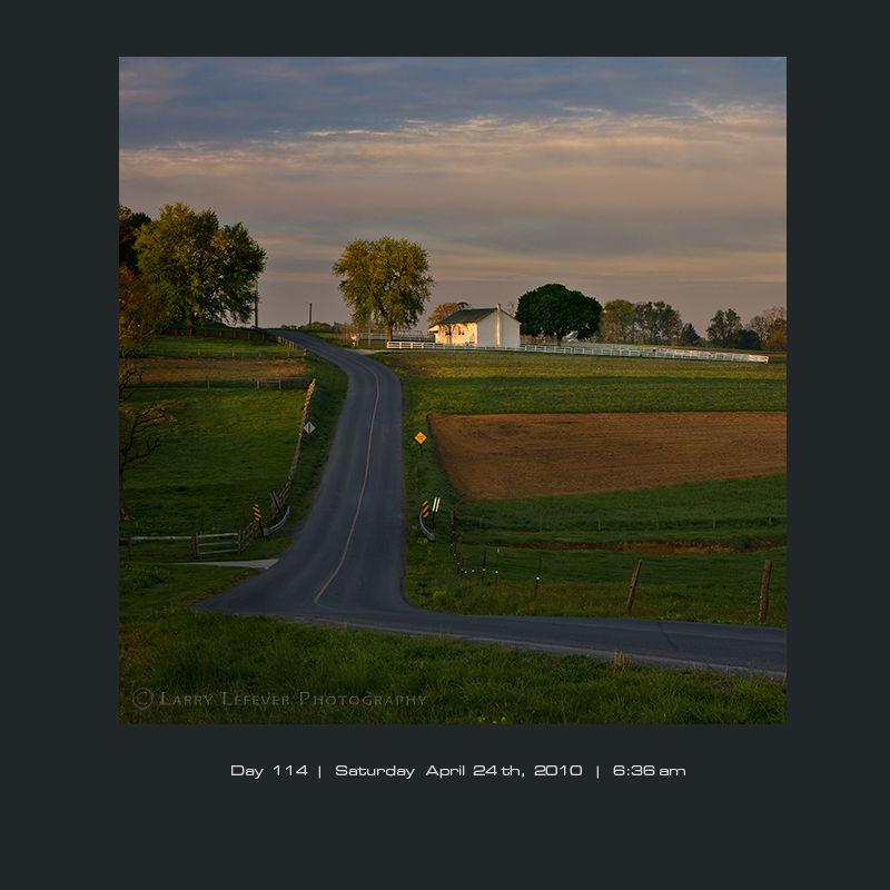Amish school house at dawn