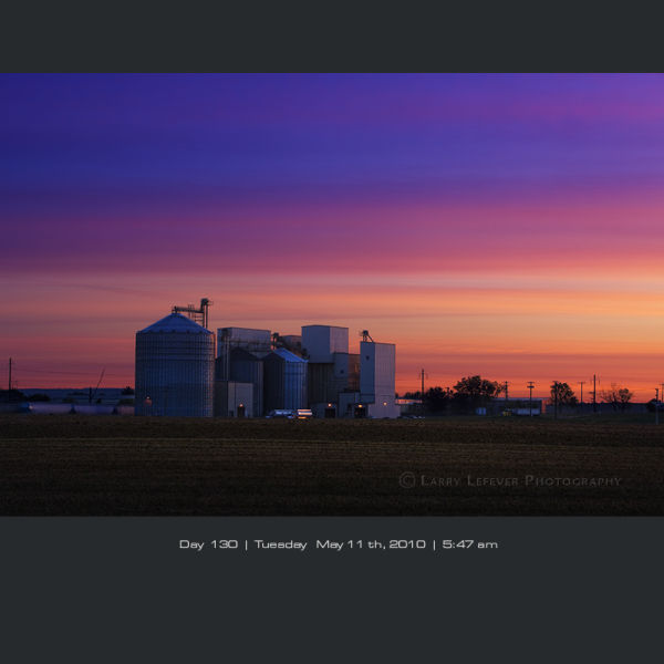 Feed mill at dawn.