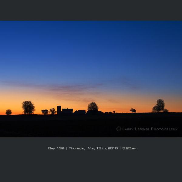 Farm silhouette at dawn.