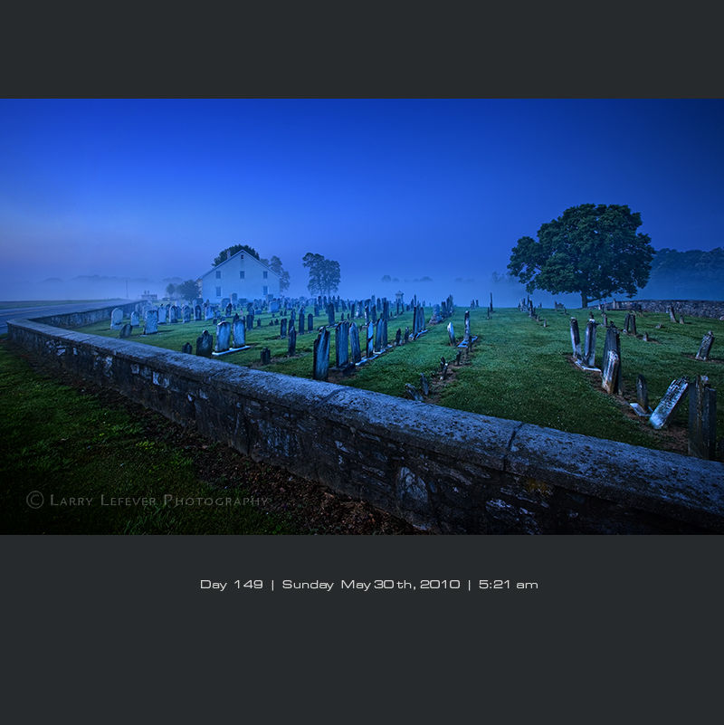 Mennonite cemetery at dawn