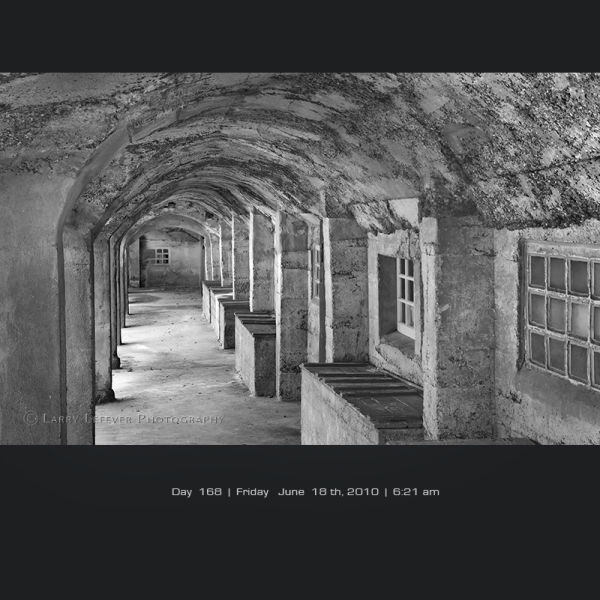 Arcade of old tile factory