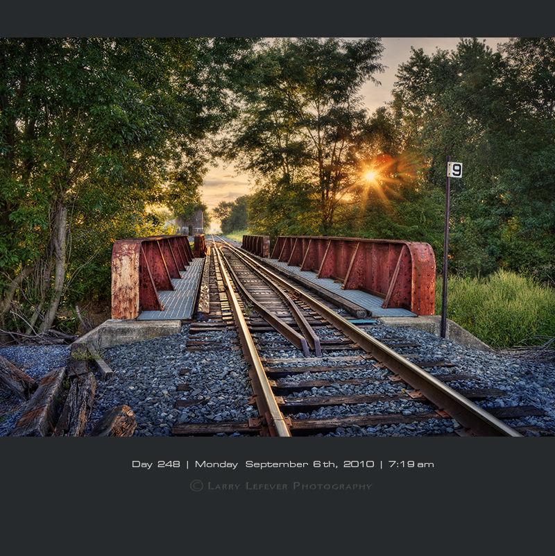 Steel railroad bridge