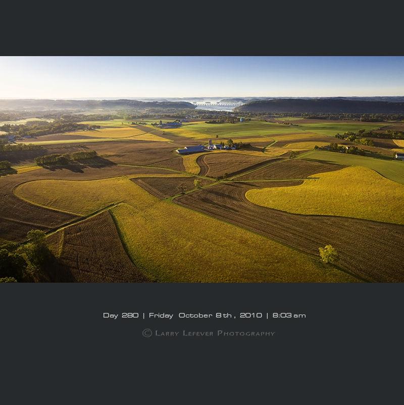 Aerial of contoured farmland