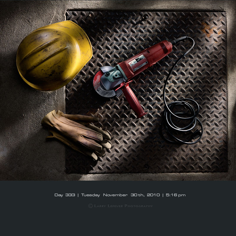 Angle Grinder and Hard Hat