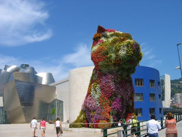 A huge pot of flowers.