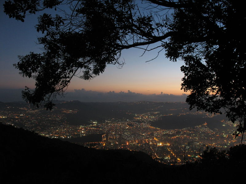 Dusk in Caracas viewed from Mountain Avila.