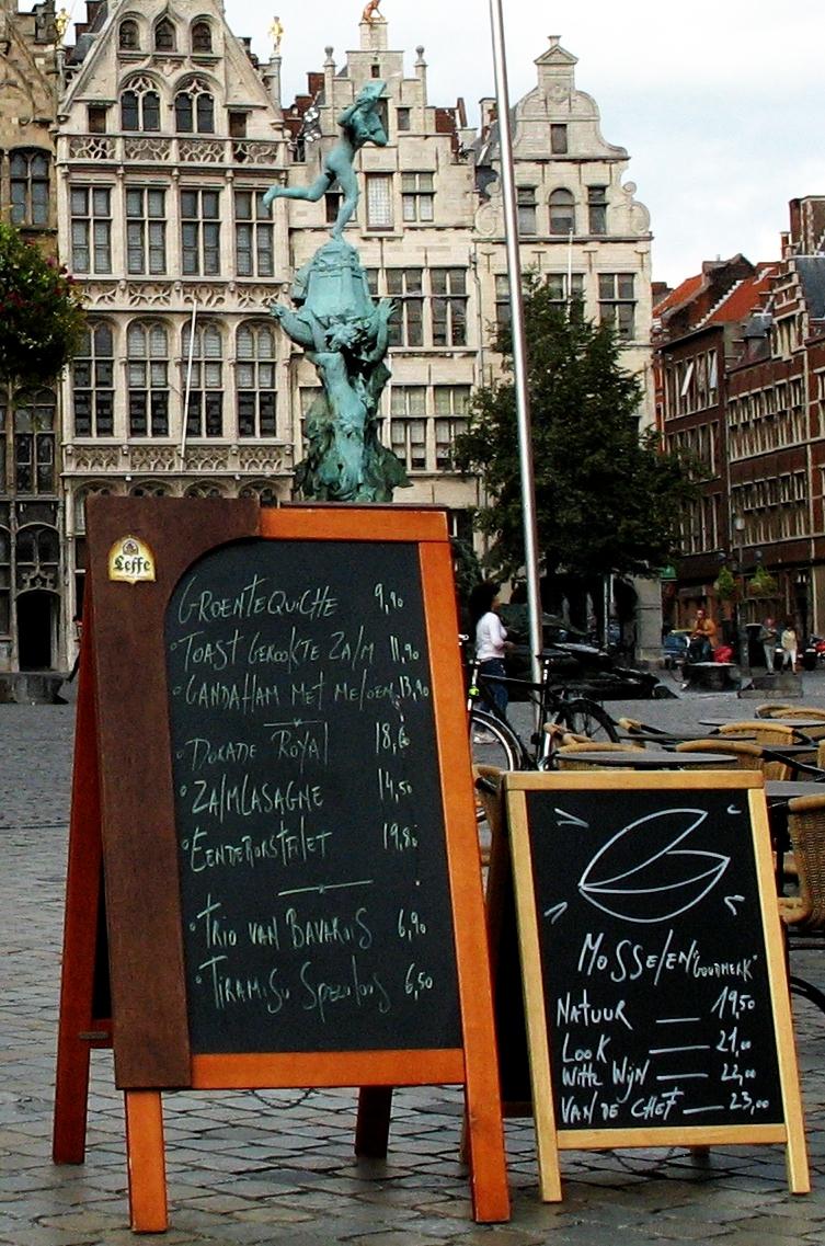 Menus at the square of Antwerpen.