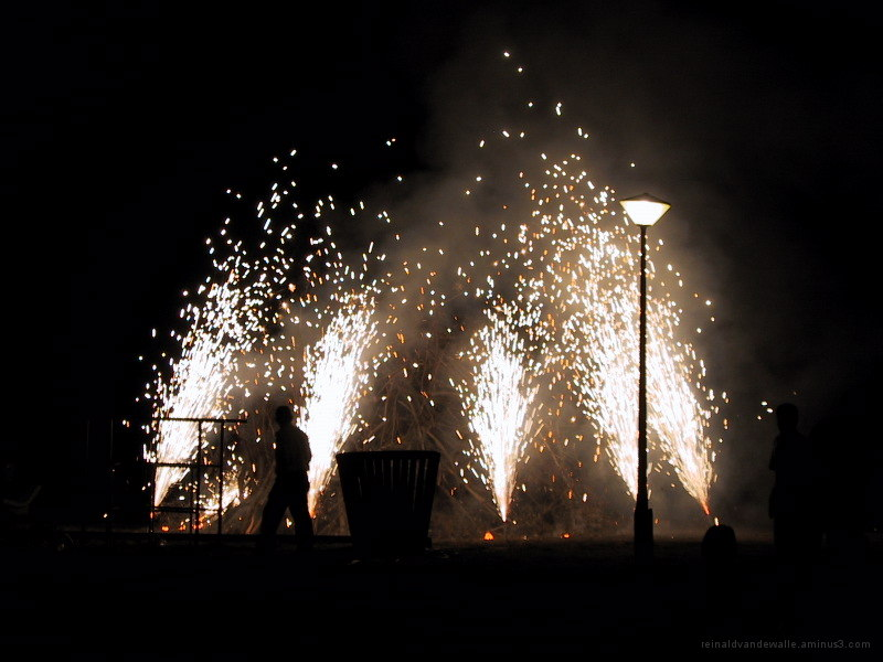 Fireworks around the campfire