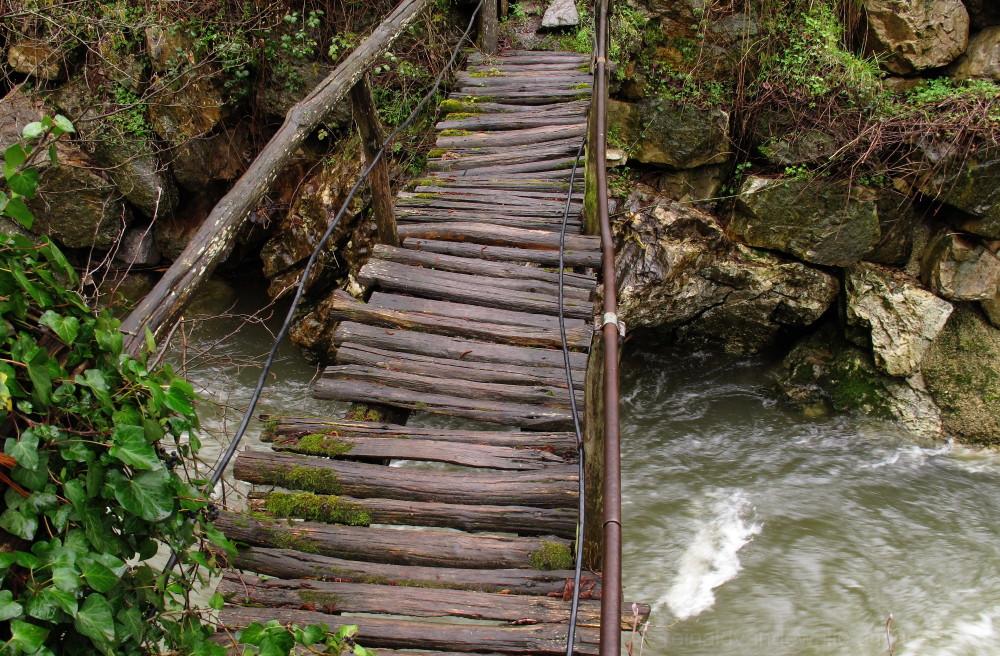 A wooden bridge.