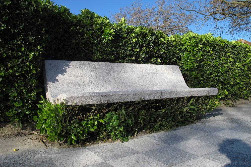 A concrete bench