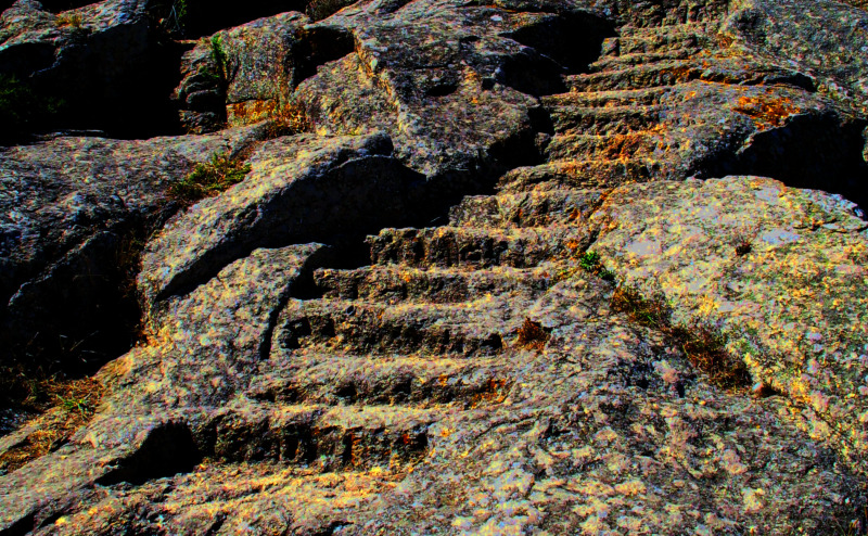 Steps carved in the rock