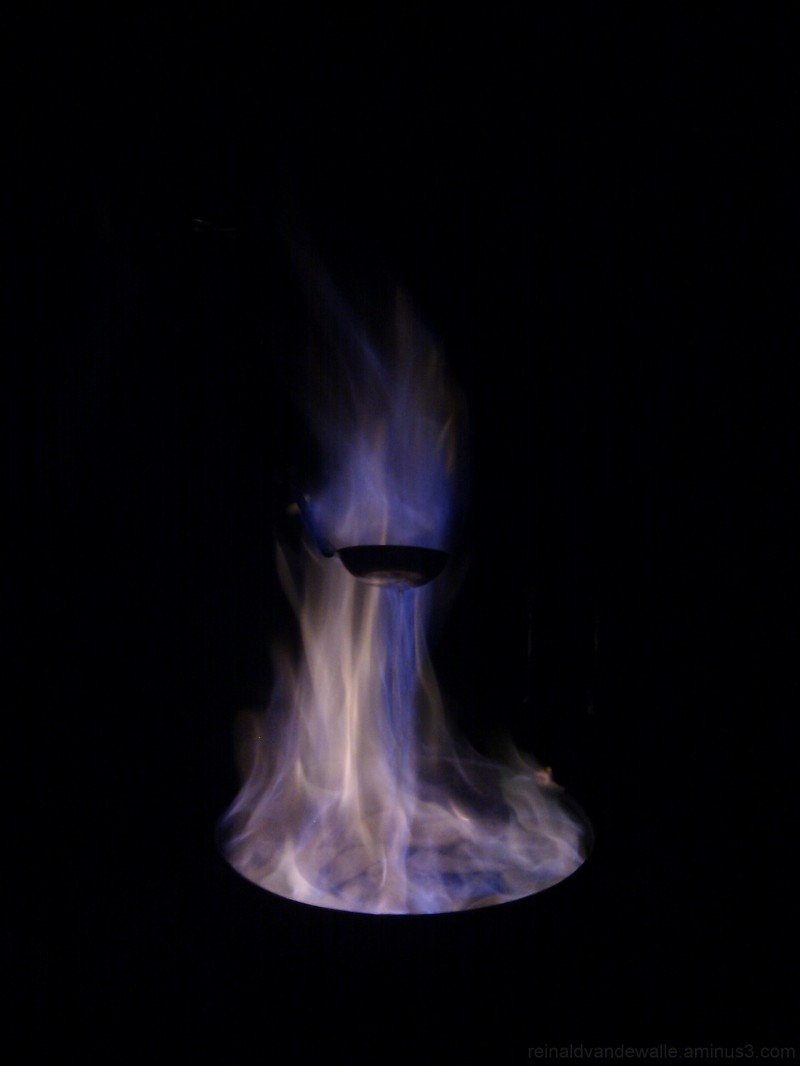 Flames burning alcohol