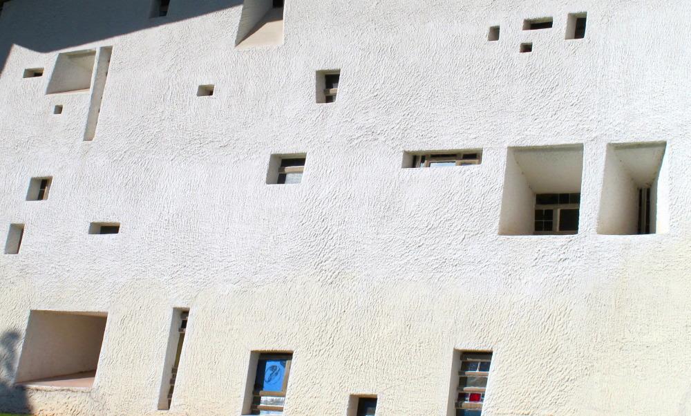 Windows in a white facade