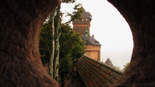 A castle seen from a window.