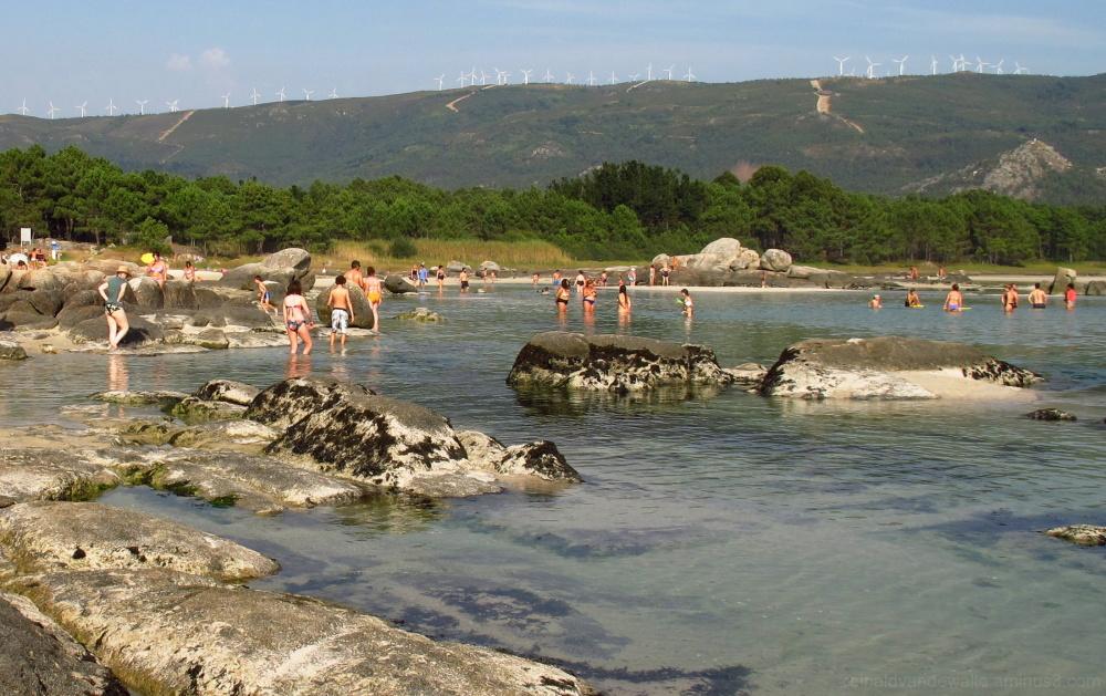 People bathing in de marshland