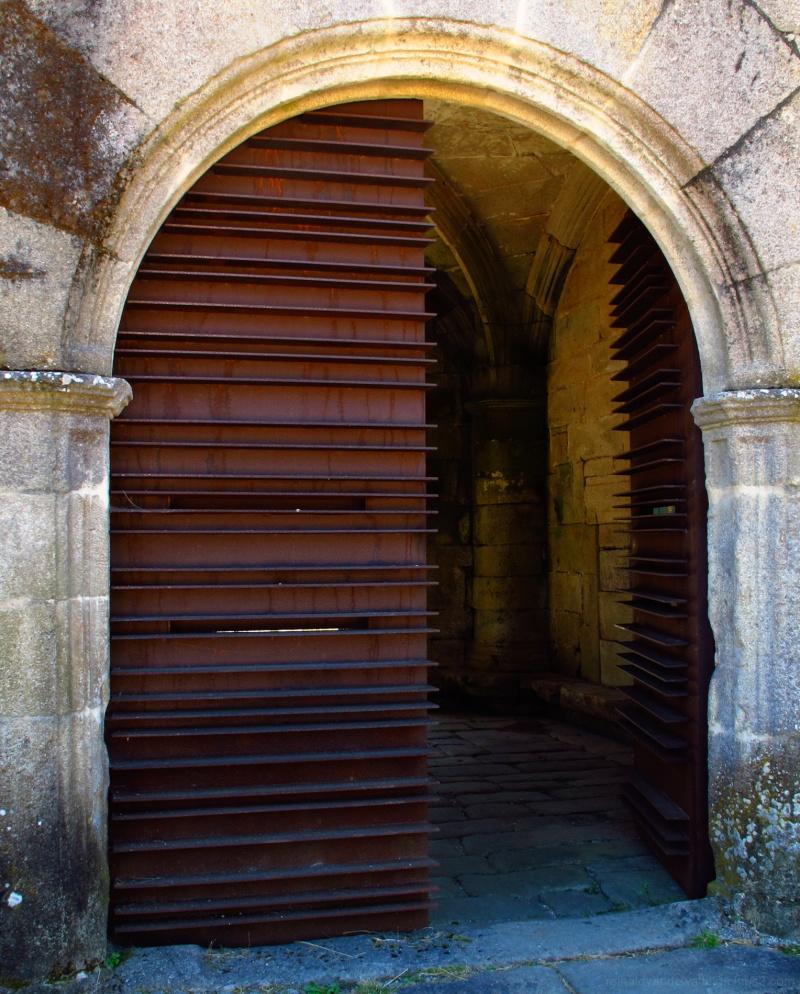 Modern entrance door to a monastery