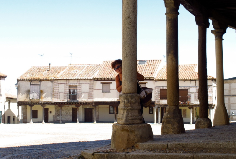 Pillars, stone, square, person