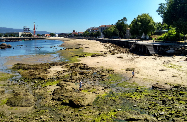 Urban beach at low tide