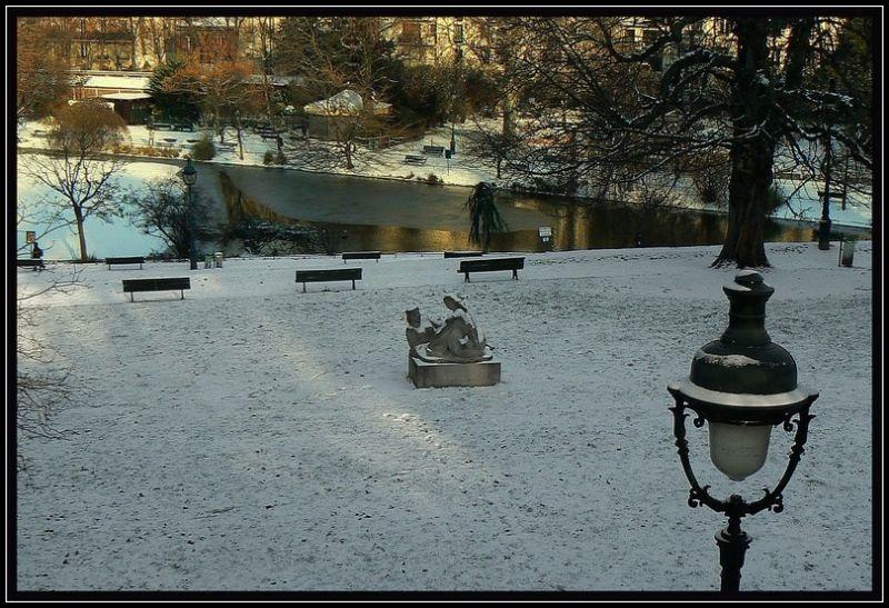 Le parc Montsouris sous la neige