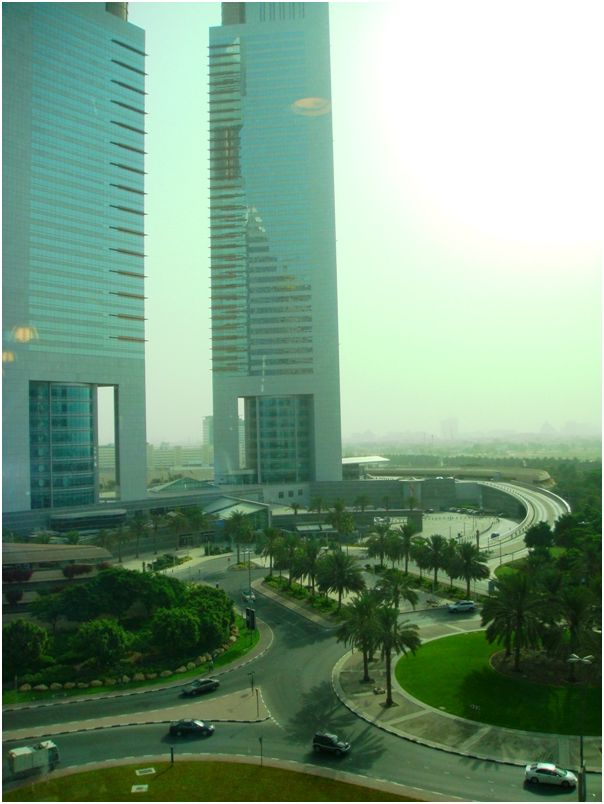 Emirates Towers from The Edge window