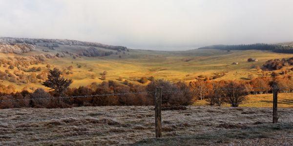 france aubrac paysage gelee