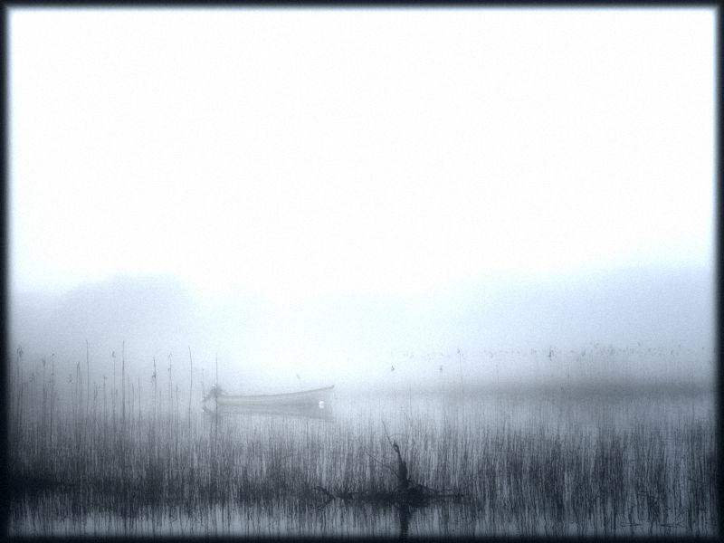 fishing boat in morning mist